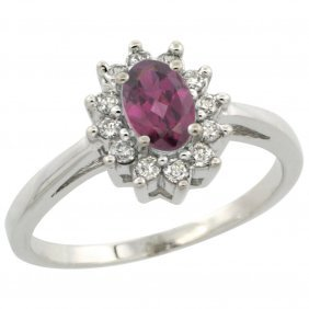 Natural 0.67 Ctw Rhodolite & Diamond Engagement Ring
