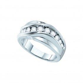1 Ctw Diamond Men's Ring 14kt White Gold -