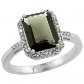 Natural 2.63 Ctw Smoky-topaz & Diamond Engagement Ring