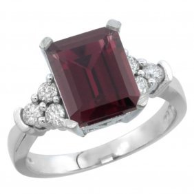Natural 2.86 Ctw Rhodolite & Diamond Engagement Ring
