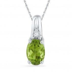 1.01 Ctw Peridot & Diamond Pendant 10kt White Gold -