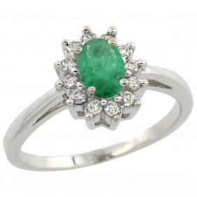 Natural 0.72 Ctw Emerald & Diamond Engagement Ring 10k