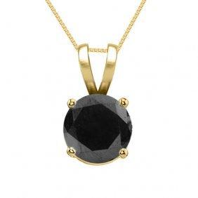 14k Yellow Gold Jewelry 0.75 Ct Black Diamond Solitaire