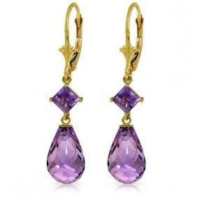 Genuine 11 Ctw Amethyst Earrings Jewelry 14kt Yellow