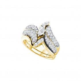 1.25 Ctw Diamond Bridal Set Ring 14kt Yellow Gold -