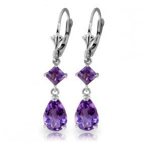 Genuine 4.5 Ctw Amethyst Earrings Jewelry 14kt White