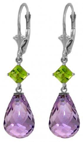 Genuine 11 Ctw Amethyst & Peridot Earrings Jewelry 14kt