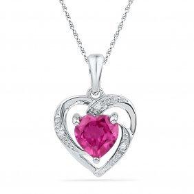 1.01 Ctw Pink Sapphire & Diamond Pendant White Rhodium
