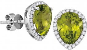 1.58 Ctw Peridot & Diamond Earrings 14kt White Gold -