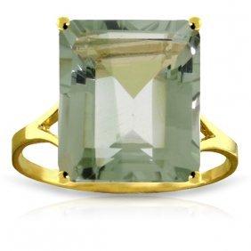 Genuine 6.5 Ctw Green Amethyst Ring Jewelry 14kt Yellow