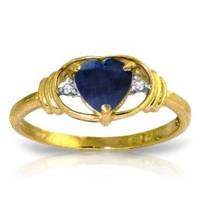 Genuine 1.01 Ctw Sapphire & Diamond Ring Jewelry 14kt