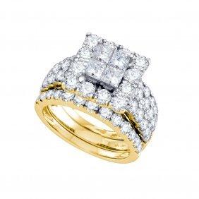 4 Ctw Diamond Bridal Set Ring 14kt Yellow Gold -