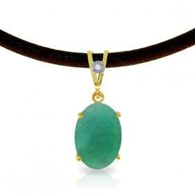 Genuine 6.51 Ctw Emerald & Diamond Necklace Jewelry