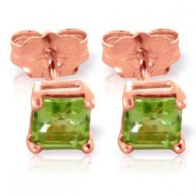 Genuine 0.95 Ctw Peridot Earrings Jewelry 14kt Rose