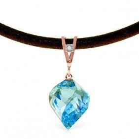 Genuine 13.91 Ctw Blue Topaz & Diamond Necklace Jewelry