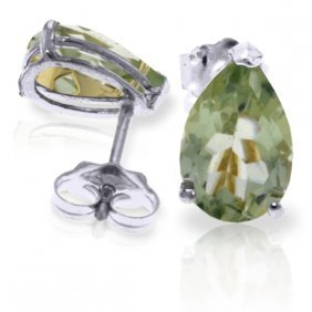 Genuine 3.15 Ctw Green Amethyst Earrings Jewelry 14kt