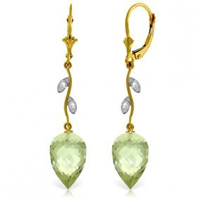 Genuine 19.02 Ctw Green Amethyst & Diamond Earrings