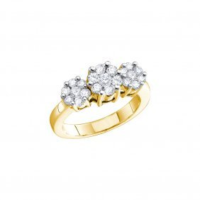 2 Ctw Diamond Ladies Ring 14kt Yellow Gold -