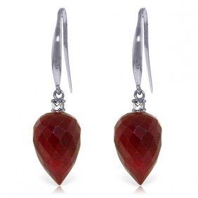 Genuine 26.2 Ctw Ruby & Diamond Earrings Jewelry 14kt