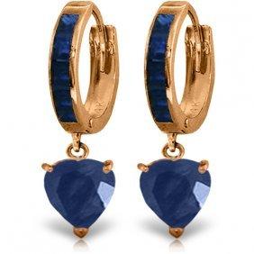Genuine 3.95 Ctw Sapphire Earrings Jewelry 14kt Rose