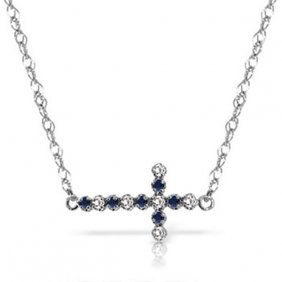 Genuine 0.24 Ctw Sapphire & Diamond Necklace Jewelry