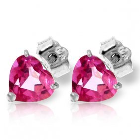 Genuine 3.25 Ctw Pink Topaz Earrings Jewelry 14kt White