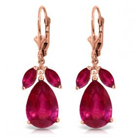 Genuine 11 Ctw Ruby Earrings Jewelry 14kt Rose Gold -