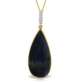 Genuine 21.08 Ctw Sapphire & Diamond Necklace Jewelry