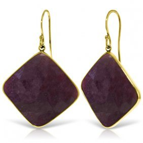 Genuine 40.5 Ctw Ruby Earrings Jewelry 14kt Yellow Gold