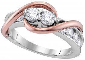 Genuine 1.42 Ctw Diamond Bridal Ring 14kt Two-tone Gold