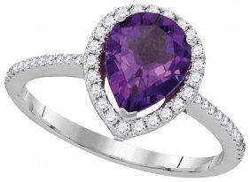 Genuine 1.50 Ctw Amethyst & Diamond Ladies Ring 14kt