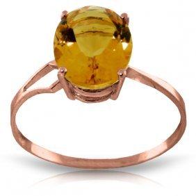 Genuine 2.2 Ctw Citrine Ring Jewelry 14kt Rose Gold -