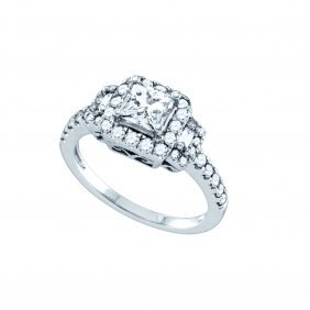 1.87 Ctw Diamond Bridal Ring 14kt White Gold -