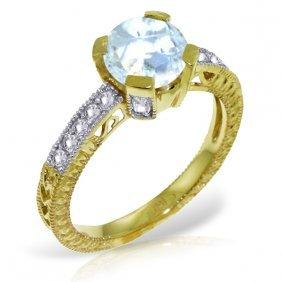 Genuine 1.80 Ctw Aquamarine & Diamond Ring Jewelry 14kt