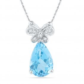 Genuine 2.56 Ctw Blue Topaz & Diamond Pendant 10kt