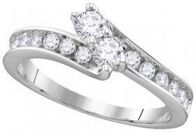 Genuine 0.91 Ctw Diamond Bridal Ring 14kt White Gold -