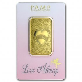 One Pc. 1 Oz .9999 Fine Gold Bar - Pamp Suisse Love