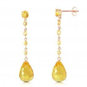 Genuine 23 Ctw Citrine Earrings Jewelry 14kt Rose Gold