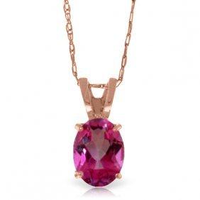 Genuine 0.85 Ctw Pink Topaz Necklace Jewelry 14kt Rose