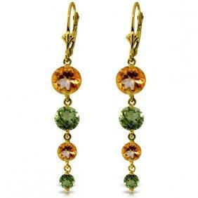 Genuine 7.8 Ctw Citrine & Peridot Earrings Jewelry 14kt
