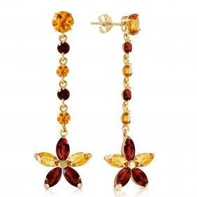 Genuine 4.8 Ctw Citrine & Garnet Earrings Jewelry 14kt