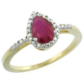 Natural 0.83 Ctw Ruby & Diamond Engagement Ring 14k