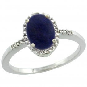 Natural 1.03 Ctw Lapis & Diamond Engagement Ring 14k