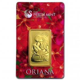 One Pc. 1 Oz .9999 Fine Gold Bar - Perth Mint Oriana