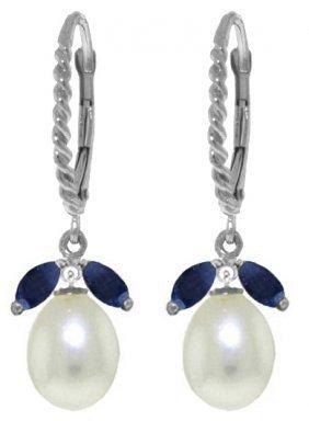 Genuine 9 Ctw Sapphire & Pearl Earrings Jewelry 14kt