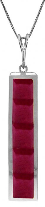 Genuine 2.5 Ctw Ruby Necklace Jewelry 14kt White Gold -