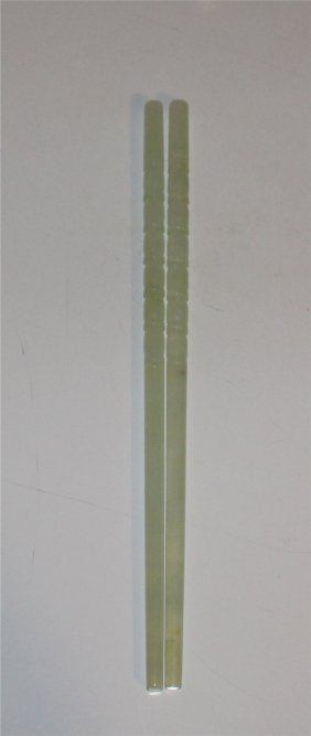 Pair Of Finely Carved Jadeite Chopsticks