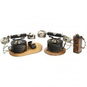 "Toy Telephone Set By ""Ernst Plank, Nuremberg"", C. 1"
