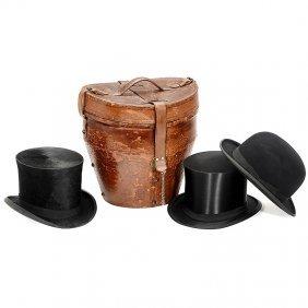 Hatbox With 3 Hats, C. 1880
