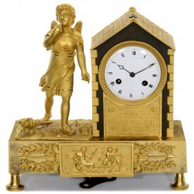 French Cupido Figural Clock, C. 1820